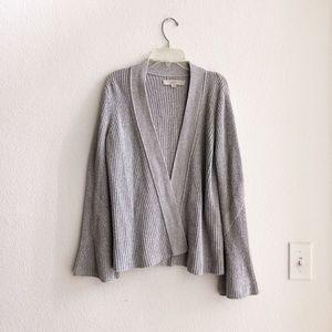 Loft Gray Bell Sleeve Open Knit Cardigan Small